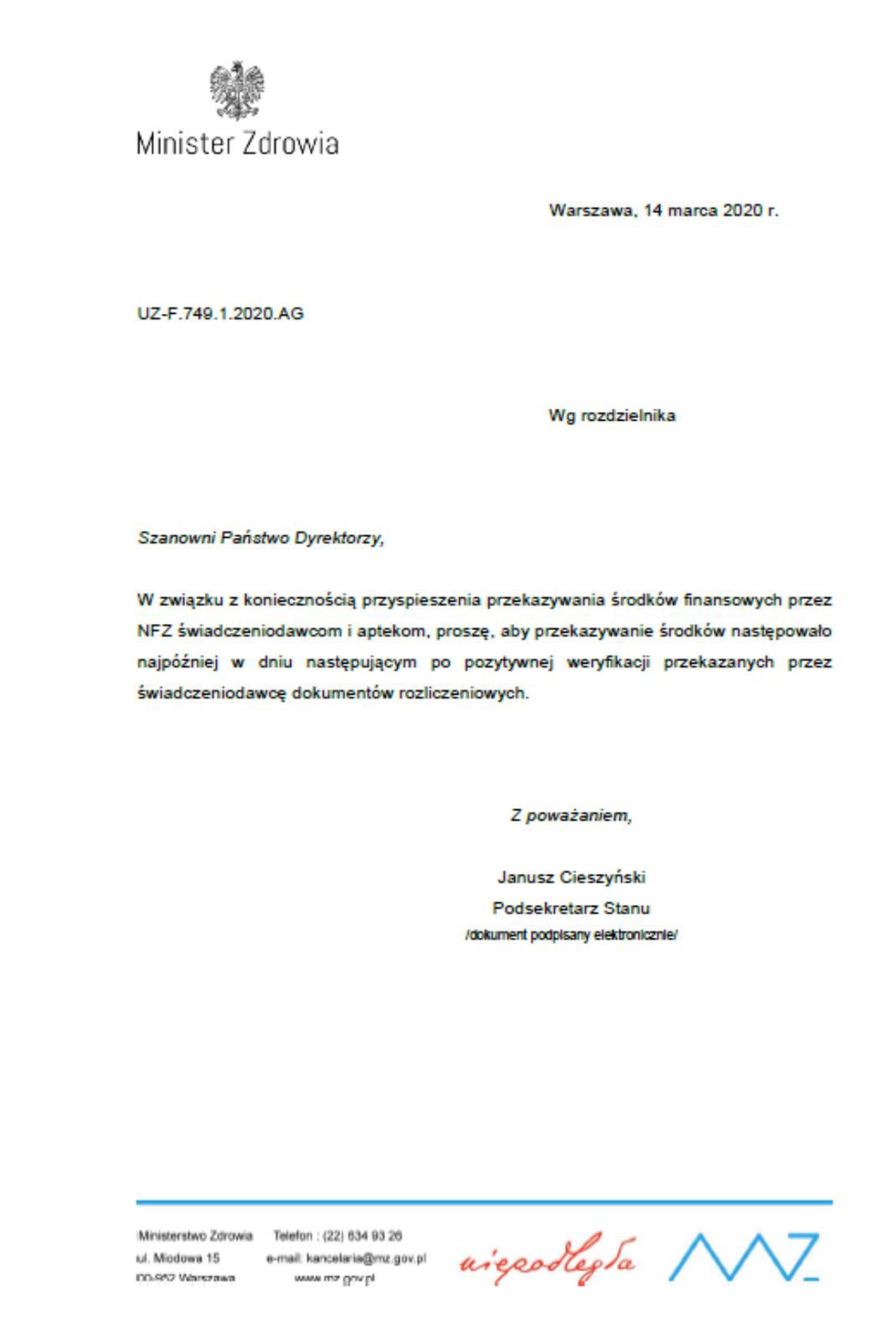 pismo MZ dooddziałów NFZ
